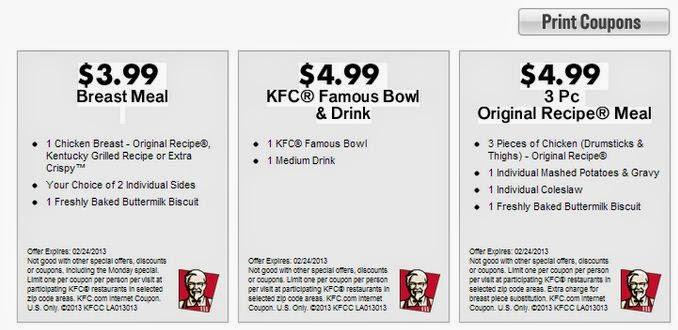 Kfc chicken coupons 2019