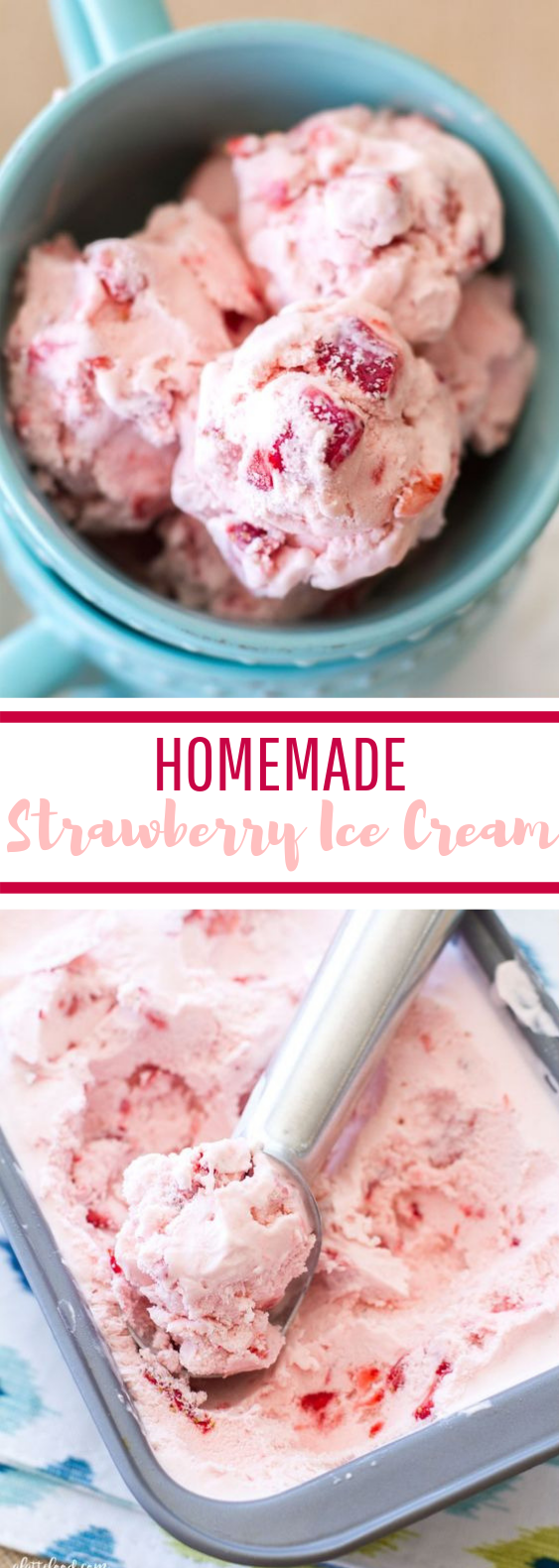 Homemade Strawberry Ice Cream #summer #easyrecipe