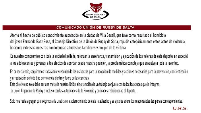 Comunicado de la Unión de Rugby de Salta tras el asesinato de Fernando Báez Sosa