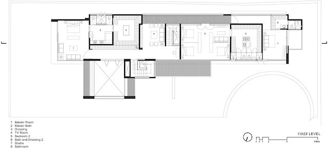 First floor plan of FF House in Mexico