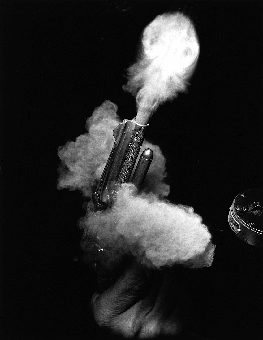 a Dr. Harold E Edgerton 1935 high speed photograph of pistol
