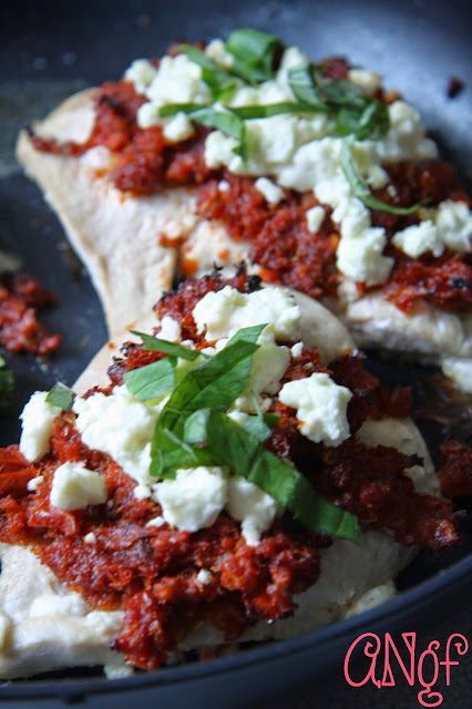 Salty feta crumbled over gluten free sun-dried tomato chicken from Anyonita-nibbles.co.uk