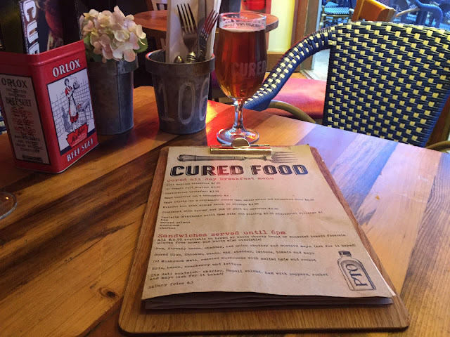 Food menu at Cured in West Bridgford