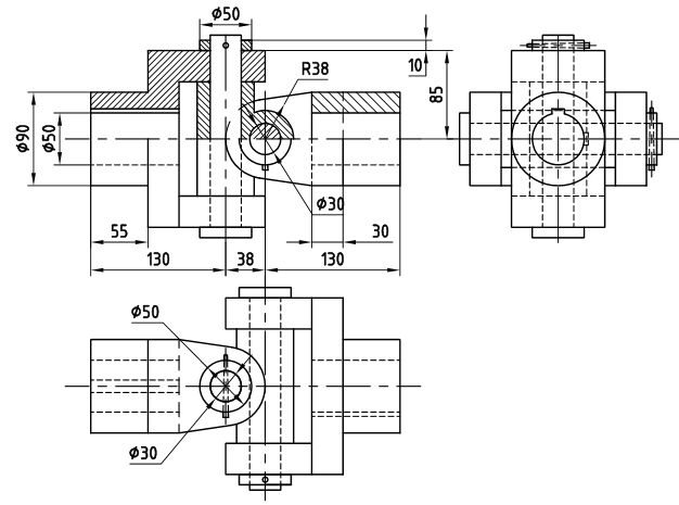 machine drawing  universal coupling