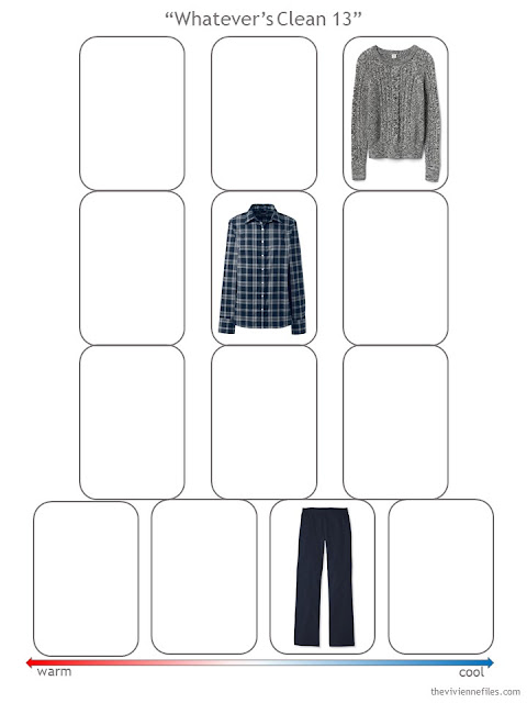 step 1 of a Whatever's Clean 13 wardrobe in navy and grey