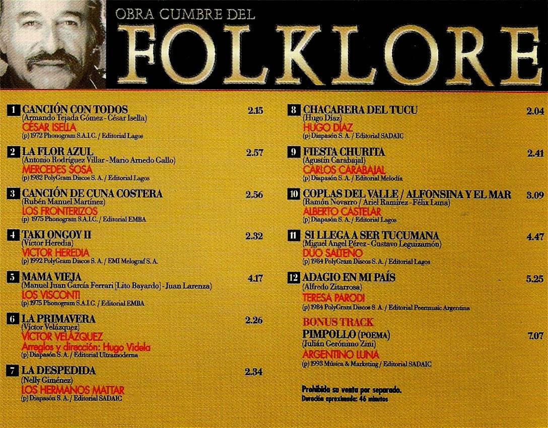 obras cumbres del folklore cesar isella volumen 26