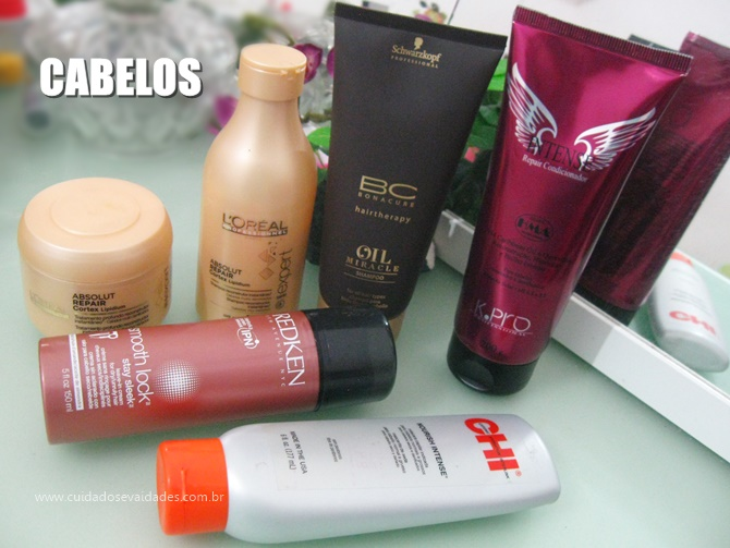Cabelos: L'Oréal, Redken Schwarzkopf,  CHI e K.Pro