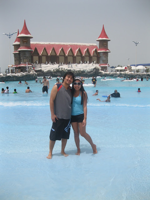 Ed and I at the Arctic Wave pool Ice Land Water Park Ras Al Khaimah
