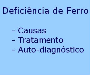 Deficiência de ferro causas diagnóstico tratamento