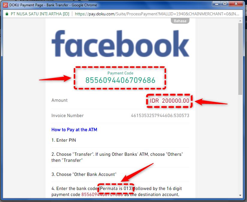 Transaksi Saldo Facebook Ads