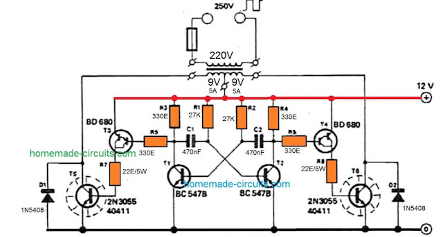 simple 100 watt inverter circuit using 2N3055 power transistors