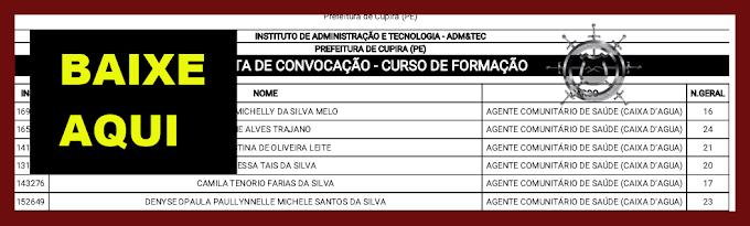NOVA LISTA DE CONVOCAÇÃO - PREFEITURA DE CUPIRA