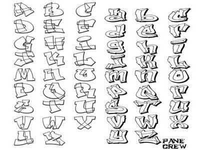 Graffiti style writing alphabet worksheets