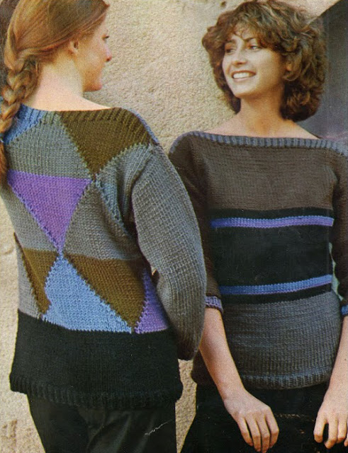 The Vintage Pattern Files: Free 1970's Knitting Pattern - Pull à triangle et pull à rayures