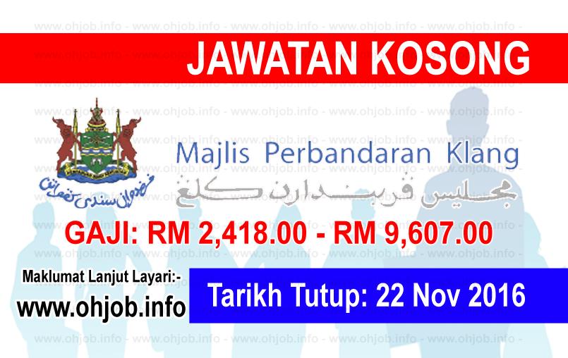 Jawatan Kerja Kosong Majlis Perbandaran Klang (MPKlang) logo www.ohjob.info november 2016