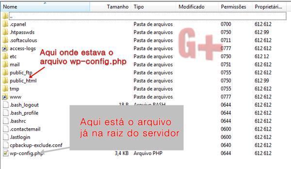 Wordpress .  Mover o arquivo para a raiz do servidor. Normalmente o arquivo se encontra em : ~/home/user/public_html/wp-config.php , ou seja, dentro da pasta public_html.