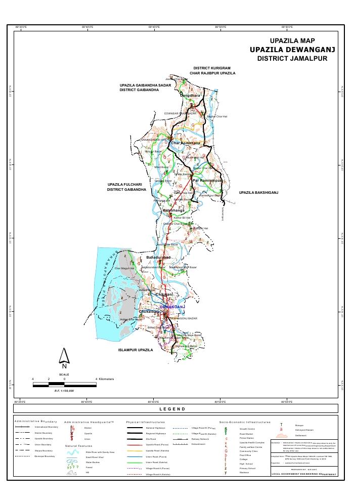 Dewanganj Upazila Map Jamalpur District Bangladesh