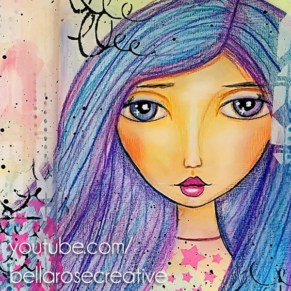 mixed media girl face portrait drawing