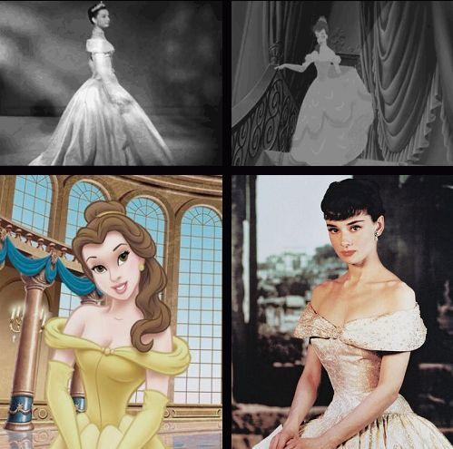 Bela e Audrey Hepburn como Sabrina