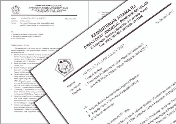 Surat Edaran Dirjen Pendis Nomor 141 Tahun 2017 tentang Persiapan Pelaksanaan Ujian Nasional Madrasah dan PPS Wajar Dikdas Tahun Pelajaran 2016-2017