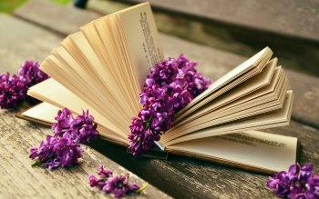 Wallpaper: Lilac flowers and a good book