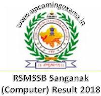 RSMSSB Sanganak (Computer) Result 2018