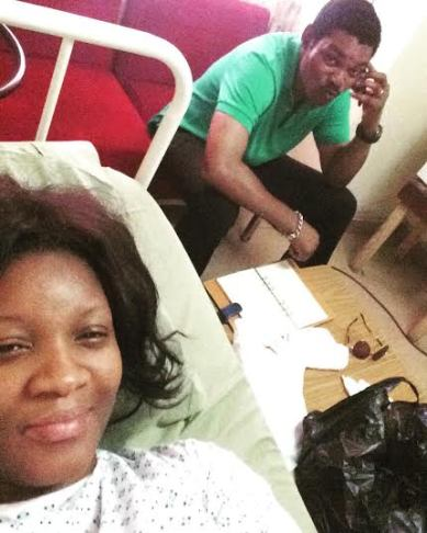 For Better for Worst, in Health and In Sickness-Omotola shares photo of her husband beside her in the hospital