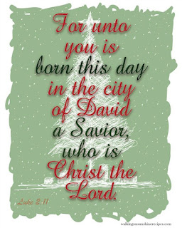 Luke 2:11 - Free Printable for Christmas from Walking on Sunshine