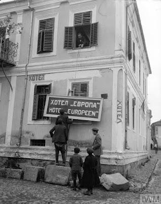 Changing the Bulgarian name of the Hotel de Nouvean, Monastir, November, 1916