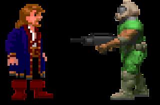 Guybrush es encañonado por un personaje de Doom.