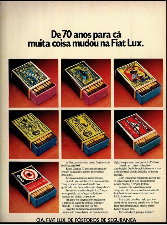 Propaganda antiga dos Fósforos Fiat Lux em 1974 comemorando seus 70 anos de mercado