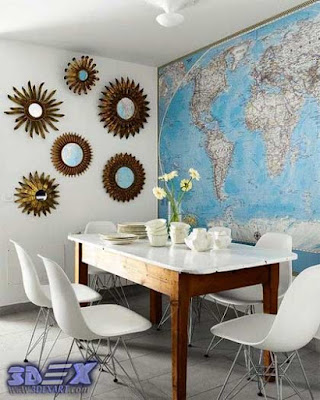world map wall decor, world map wall art, world map wallpaper and murals
