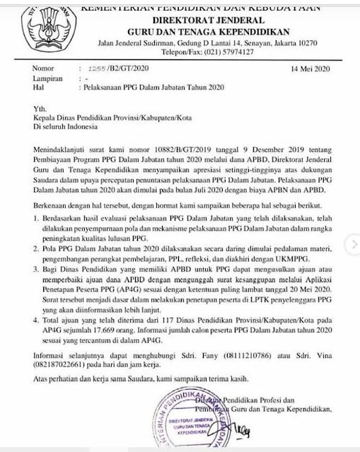 gambar surat edaran ppg daljab 2020