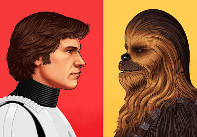 "Star Wars ""Han Solo in Stormtrooper Gear"" & ""Chewbacca"" Portrait Prints by Mike Mitchell x Mondo"