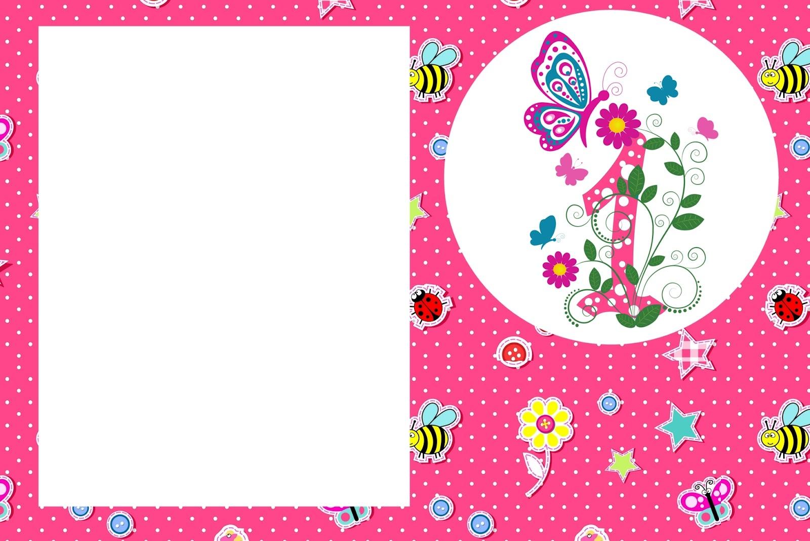 1 Ano Menina Kit Completo Com Molduras Para Convites Rótulos Para