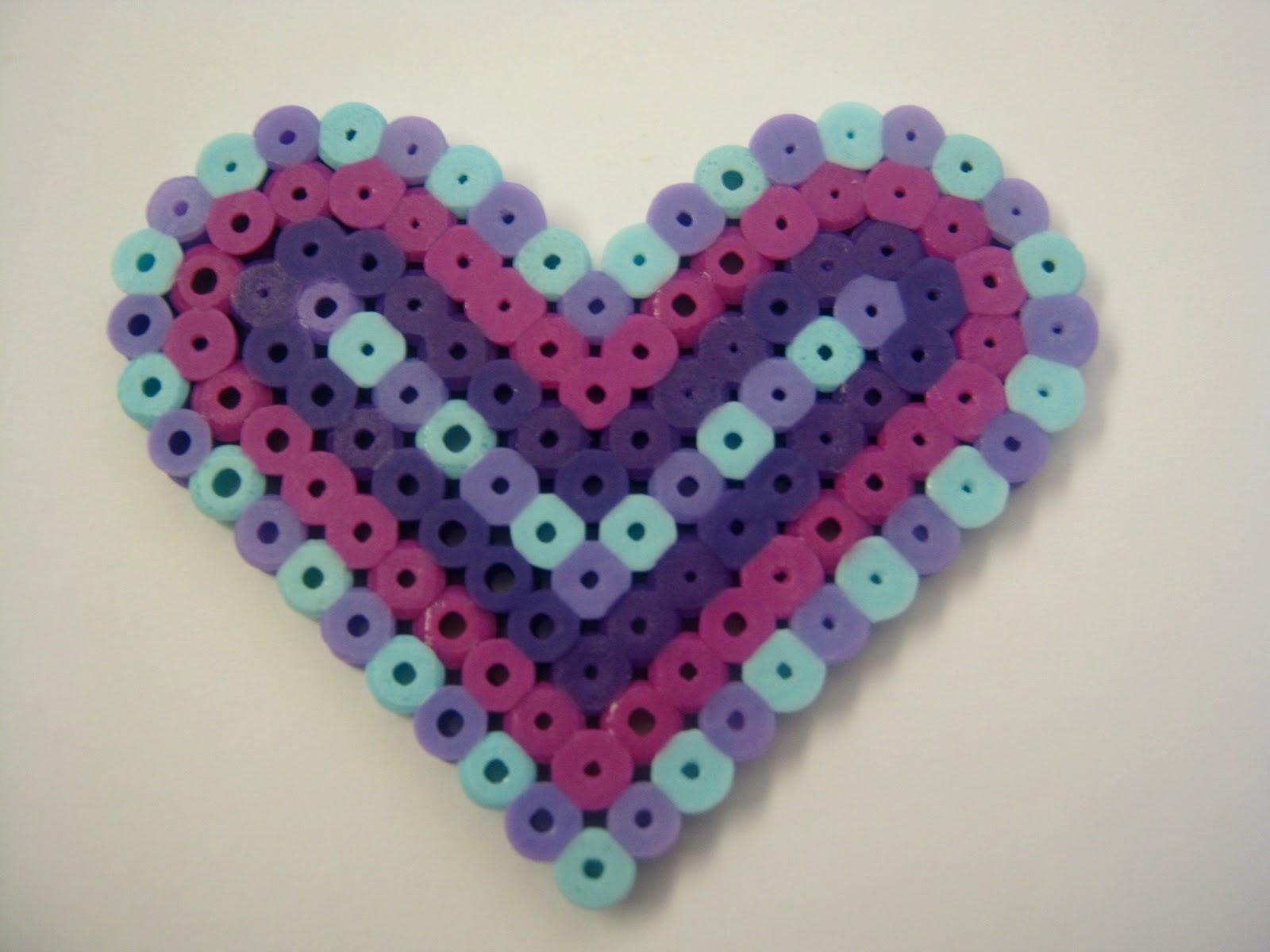 Rainbow Heart perler bead. made with heart shaped peg ... |Perler Bead Heart