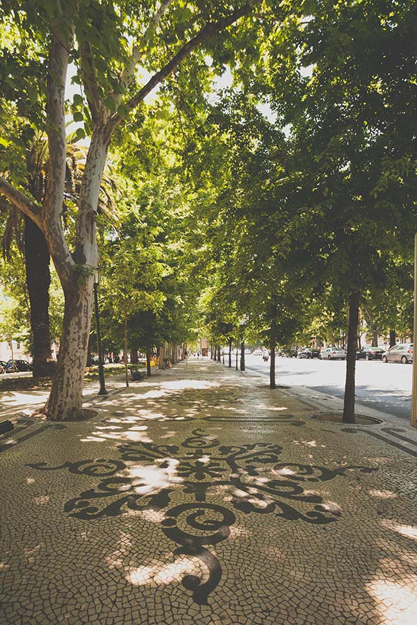 The mosaic promenade of the mile long Liberty Avenue in Lisbon, Portugal