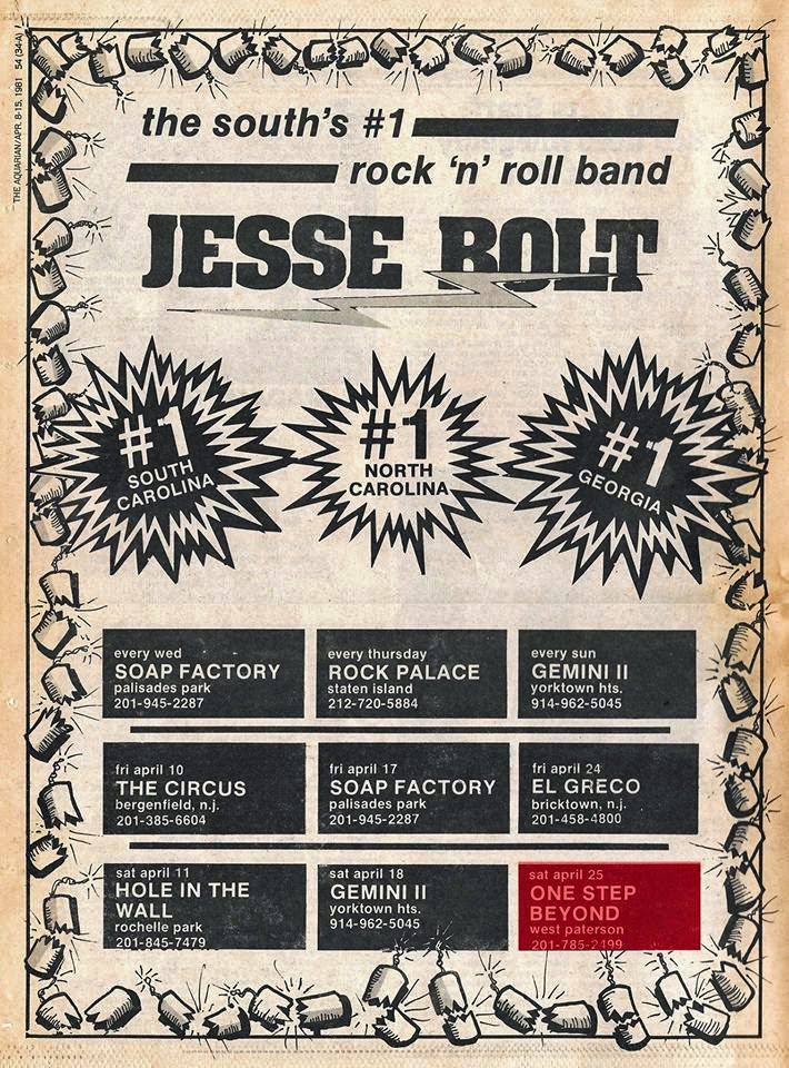 Jesse Bolt club schedule 1981