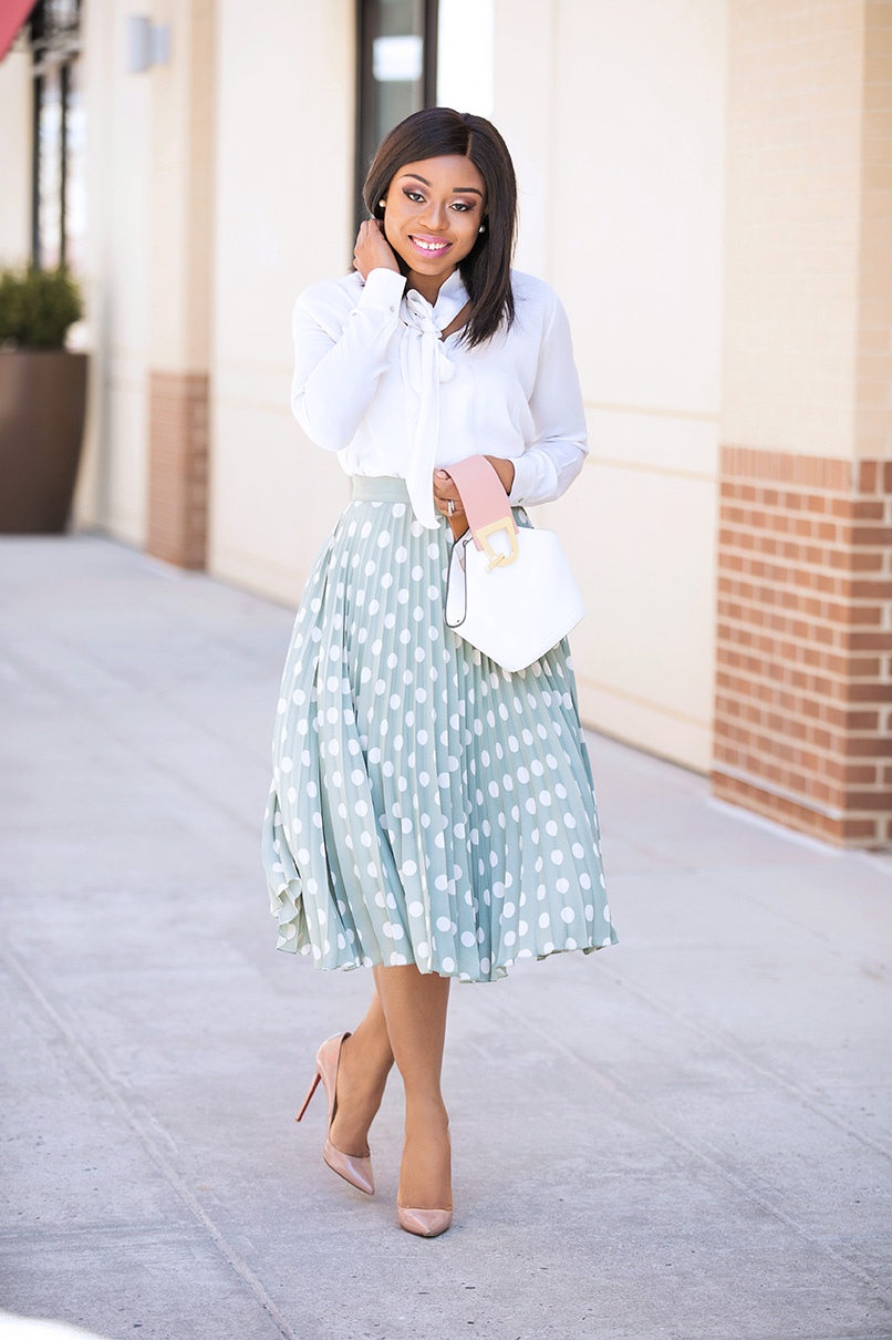 Pastel polka dot skirt, www.jadore-fashion.com