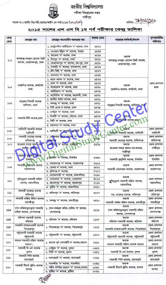 Center List : NU LLB (Part-1) Exam-2015 » Digital Study