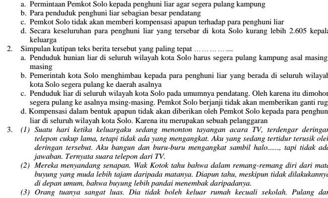 Soal UAS SMP Kelas 7 Bahasa Indonesia Semester 1