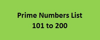 Prime Numbers List 101 to 200