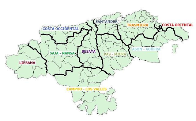 Resultado de imagen de MAPA COMARCAS DE CANTABRIA