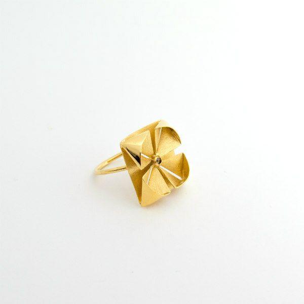 golden metal origami ring