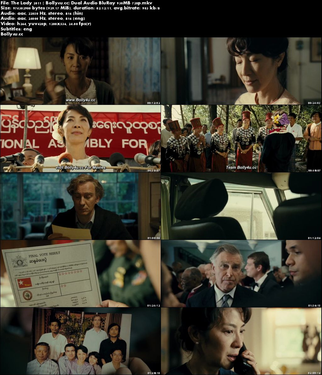 The Lady 2011 BluRay 400MB Hindi Dual Audio 480p