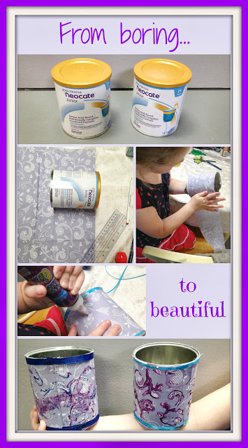 cover a can with pretty fabric to make a barrette bin