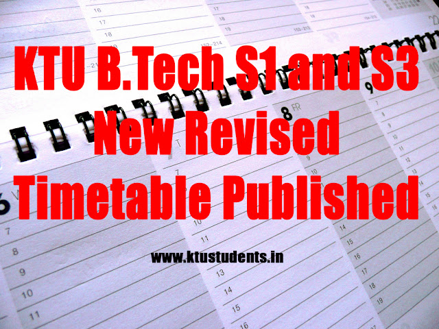 ktu btech examination timetable
