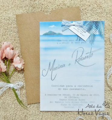 convite de casamento artesanal personalizado rustico casamento na praia translucido delicado estampado praia aquarelado aquarela watercolor papel vegetal envelope papel kraft luva 15x21 noivado noivas convite criativo diferente sofisticado barato
