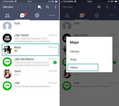 Hapus Chat di LINE Android