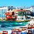 City Houses Blue Sea Bar Wallpaper
